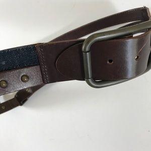 Dolce & Gabbana leather + denim studded belt